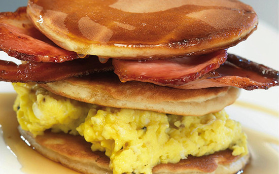 Pancakes, Scrambled Eggs, Crispy Bacon and Maple Syrup.